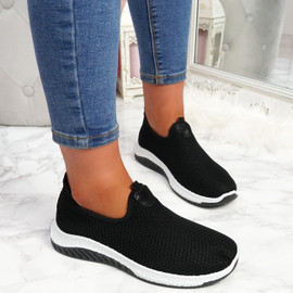 Nugga Black Slip On Trainers
