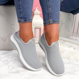 Nugga Grey Slip On Trainers