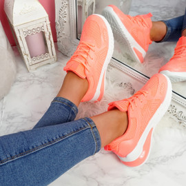 Bymma Peach Lace Up Trainers