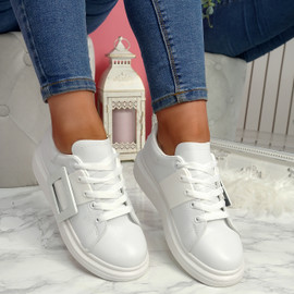 Kiva White Buckle Trainers