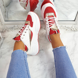 Kitta Red Chunky Sneakers