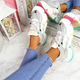 Lenna Grey Rainbow Chunky Trainers
