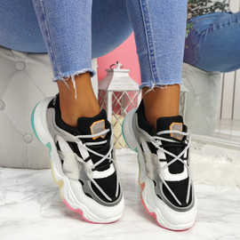 Lenna Black Rainbow Chunky Trainers