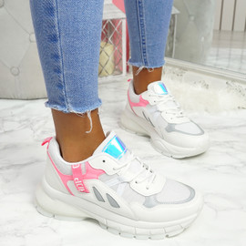Nuppy White Rose Red Chunky Sneakers