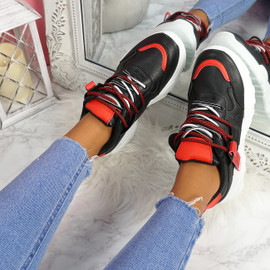Junny Black Red Chunky Trainers