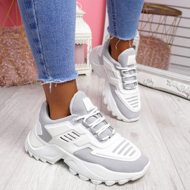 Levve Light Grey Mesh Chunky Sneakers