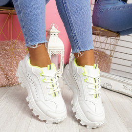 Kezya White Green Chunky Trainers