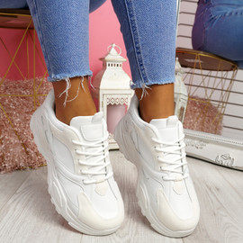 Pinny White Pu Chunky Sneakers