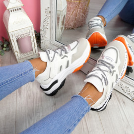 Meja White Orange Pu Chunky Trainers