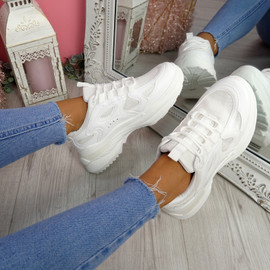 Pory White Chunky Sneakers