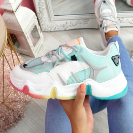 Lizza Blue Rainbow Sole Chunky Trainers