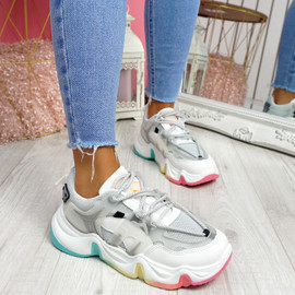 Lizza Grey Rainbow Sole Chunky Trainers