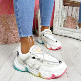 Lizza White Rainbow Sole Chunky Trainers