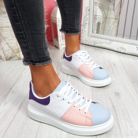 Jumma Light Blue Lace Up Trainers