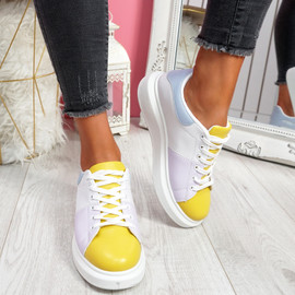 Jumma Yellow Lace Up Trainers