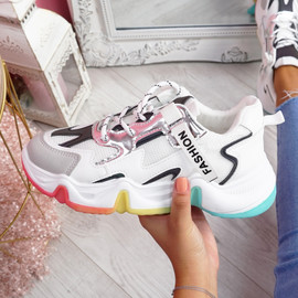Kollya White Rainbow Sole Chunky Trainers