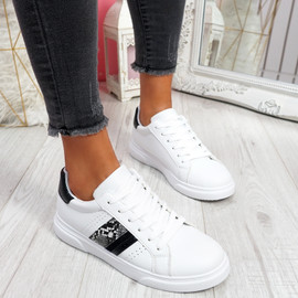 Minno White Black Lace Up Trainers