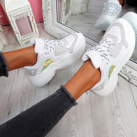 Livva White Grey Chunky Sneakers