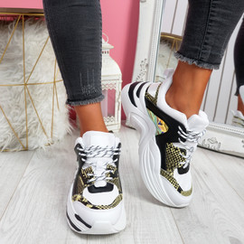 Livva White Leopard Chunky Sneakers