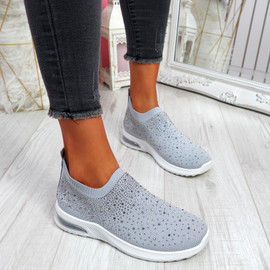 Sizzo Grey Diamante Studded Trainers