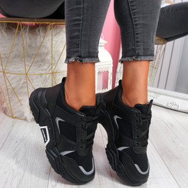 Linne Black Chunky Trainers