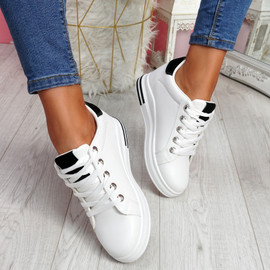 Liva White Black Wedge Trainers