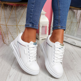 Sonna White Rainbow Wedge Trainers