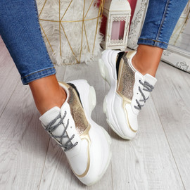 Eveny Gold Chunky Sneakers