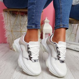 Eveny White Chunky Sneakers