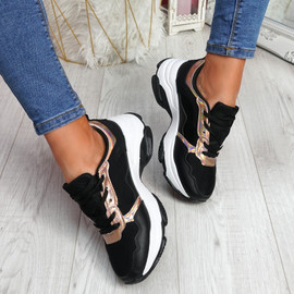 Eveny Black Chunky Sneakers