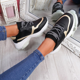 Eveny Black Gold Chunky Sneakers