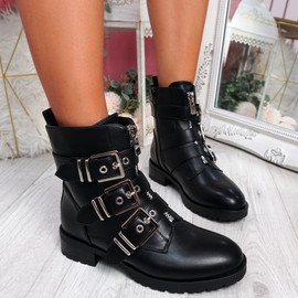 Bonne Black Pu Buckle Ankle Boots
