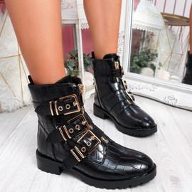 Bonne Black Croc Buckle Ankle Boots