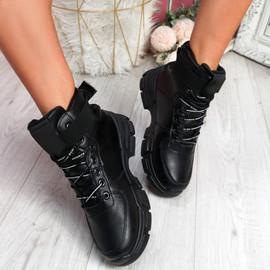 Lidda Black Zip Ankle Boots