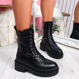 Gobba Black High Top Biker Ankle Boots