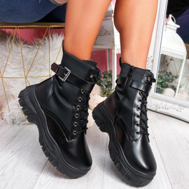 Hille Black Zip Ankle Boots
