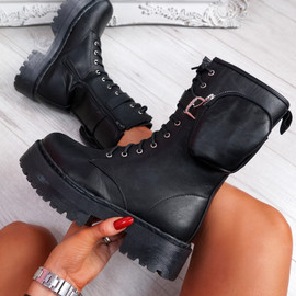 Jepy Black High Top Zip Ankle Boots