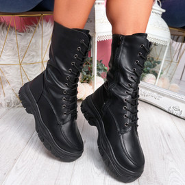 Yona Black High Top Biker Ankle Boots