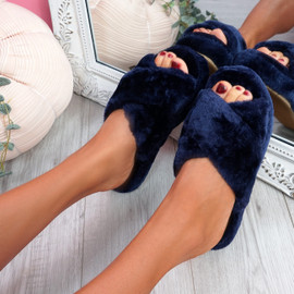 Monny Dark Blue Fluffy Sliders