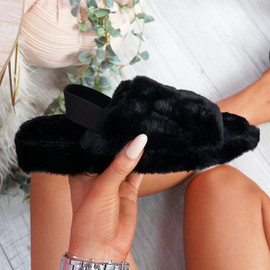 Ponna Black Fluffy Sandals