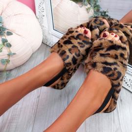 Ponna Leopard Fluffy Sandals