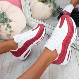 Nokka White Red Chunky Trainers