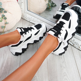Buvy White Black Chunky Sneakers