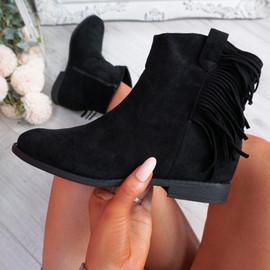 Nessya Black Fringe Ankle Boots