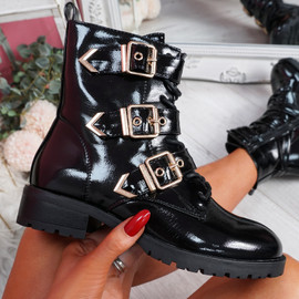 Famma Black Patent Buckle Zip Ankle Boots