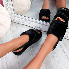 Namma Black Fluffy Sandals