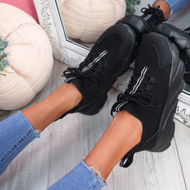 Loddy Black Mesh Chunky Trainers