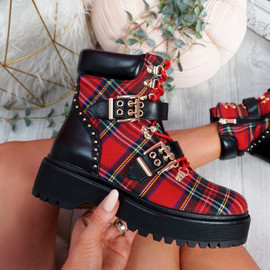 Gevvo Black Red Buckle Ankle Boots