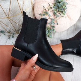 Fenny Black Pu Chelsea Ankle Boots
