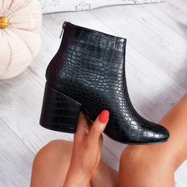 Cassy Black Croc Ankle Boots